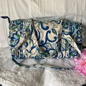 Vera Bradley Small Blue, White & Green Duffel Bag